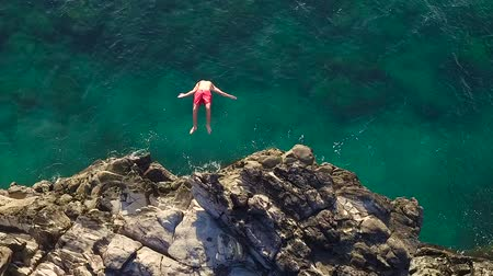 extremo : Extreme Cliff Jumping Backflip. Summer Extreme Sports Shot from Above Aerial View. Vídeos