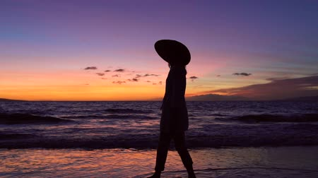 vacation : Retirement Tropical Vacation. Sillhouette Woman Against Vibrant Sunset. Slow Motion Waves Rolling up Tropical Luxury Beach. Stock Footage
