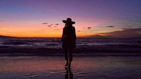 luksus : Retirement Tropical Vacation. Sillhouette Woman Against Vibrant Sunset. Slow Motion Waves Rolling up Tropical Luxury Beach. Wideo