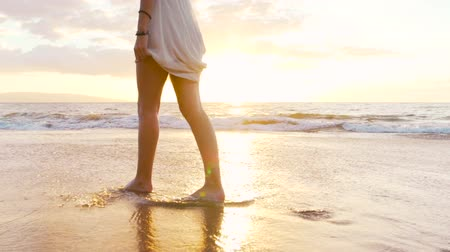 честолюбие : Legs Feet Beautiful Girl Walking Barefoot on Wet Sand Tropical Island Beach Sun Lens Flare Slow Motion Стоковые видеозаписи