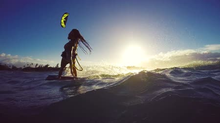 évad : Beautiful Girl Having Fun Summer Extreme Water Sports Kite Surfing in Bikini. Slow Motion. Stock mozgókép