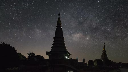 astro : The Milky Way galaxy moving over two Pagodas. (Zoom Out)