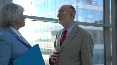 Two senior business people talking in modern office building with panoramic windows Stok Video