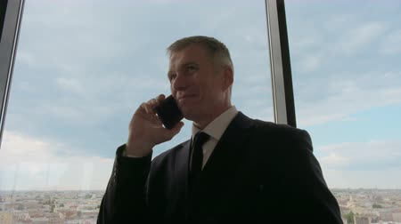Mature businessman talking on phone standing near office window with view of city Stok Video