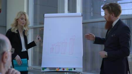 Senior couple receiving financial planning advice presentation at flipchart of young business people Stok Video