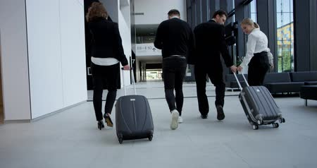 hall : Business people team in formal clothing walking with wheeled bags at airport terminal