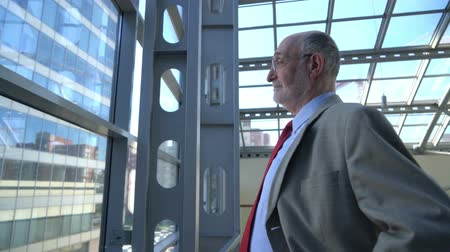 Thoughtful senior businessman looking through office window Stok Video
