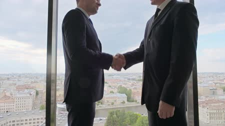 Two smiling businessmen shaking hands standing by the windows in an office with a panoramic view on city