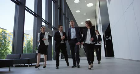 Business people walking in modern office building hall
