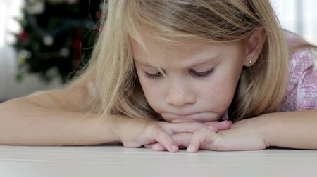 lonely : Portrait sad little girl Stock Footage