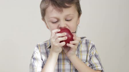 Portrait of little boy biting apple Stok Video