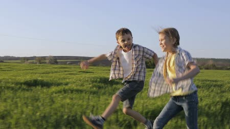 küçük kız : Two happy children playing in the field at the day time. Kid having fun outdoors. Concept of happy game.