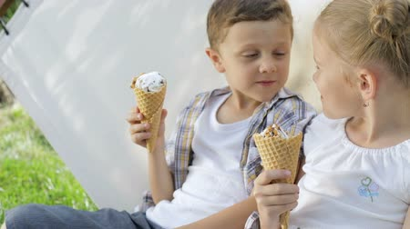dondurma : Two happy children eating ice cream in the park at the day time. Concept healthy food. Stok Video