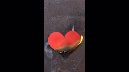 A paper heart attached to the wall, burns from a match. Concept of broken love. Stok Video