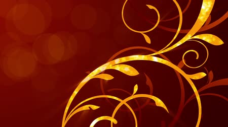 graphic arts : Animated floral ornament on a red background with a bright glow