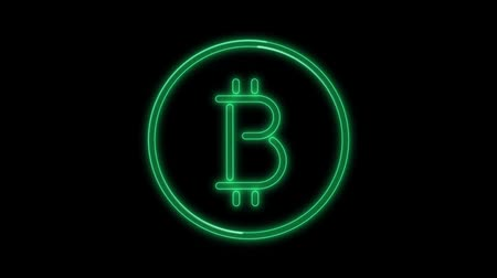 Neon flickering green cryptocurrency bitcoin icon. Alpha channel Premultiplied and color black. 3D illustration