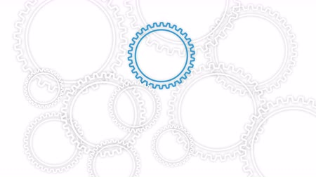 Gear wheels rotating on the white background. Loop 3D illustration