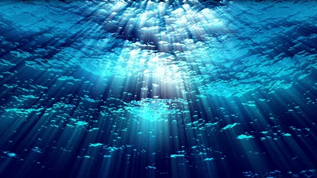 tyrkysový : Water FX0308: Underwater ocean waves ripple and flow with light rays (Loop).