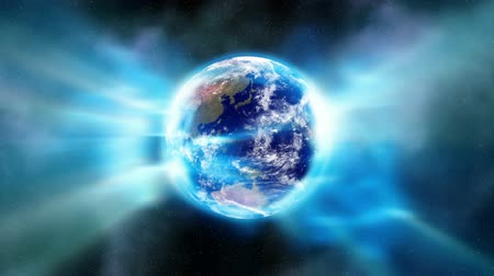 исцелять : Earth Aura 001: Stock video of an aura of light enveloping the Earth in space (Loop).