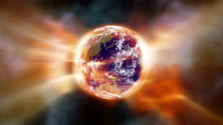 mudança : Earth Aura 002: Stock footage of a global warming aura of heat radiation enveloping the Earth in space (Loop). Stock Footage