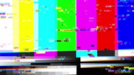 prova : Glitch 1002: TV color bars with a digital malfunction (Loop). Stock Footage