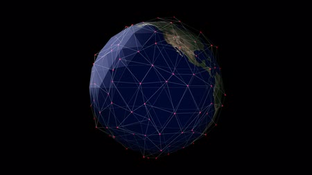 istatistik : Earth 1010: Stock footage of a global network surrounding the Planet Earth (Loop). Stok Video