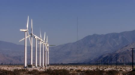 Wind Power 0105: Windmills turn in the sunny California desert.