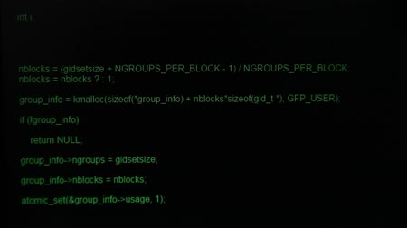 hozzáférés : Source code, decryption and access granted by hacker on computer display. Stock mozgókép