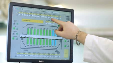 financial : Hand presenting financial graph on monitor screen Stock Footage