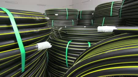 plastics : production process of plastic pipes at the plant