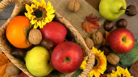 persimmons : Autumn Fall overhead filling basket with seasonal fruit and nuts on rustic wood table backgroun