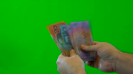 tempo : Mans hands counting Australian money, close up against green screen.