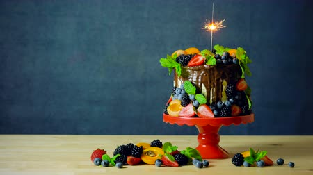 Delicious chocolate drip cake decorated with fresh seasonal fruit and berries with burning celebration sparkler. Стоковые видеозаписи