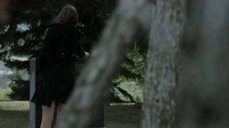 надгробие : panning shot woman placing rose in grave stone in cemetery