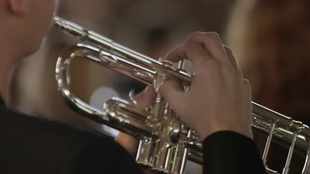 woodwind : Close up of a boys hands playing trumpet, camera focuses onto girl with clarinet