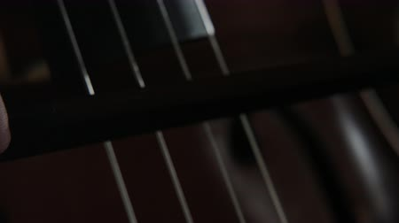 vibration of violin strings, slow motion Stock Footage