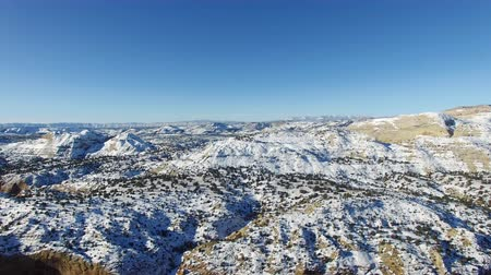drone shot of snow covered desert