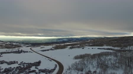 drone shot of snow covered valley Stock Footage