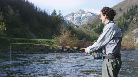 waders : man flyfishing in river in Utah