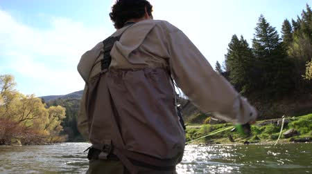 waders : man casting on river