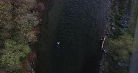 somon : drone shot of man casting while fly fishing