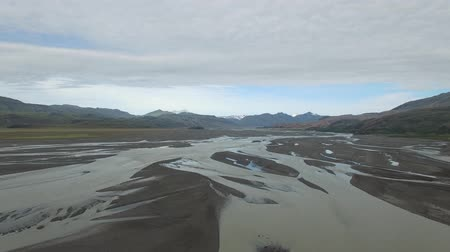 gullfoss : Drone shot of braided river in Iceland Stock Footage