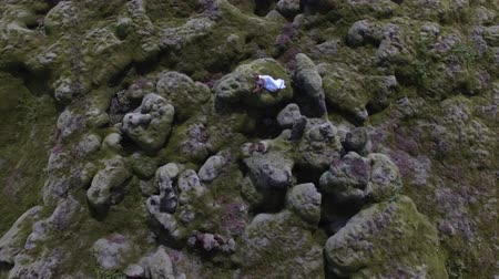 tilt down : drone shot of woman laying in moss field in Iceland