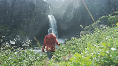 pažba : woman walking towards waterfall in Iceland