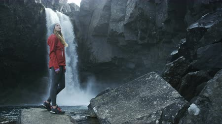 csikk : woman standing on a rock looking at waterfall in Iceland