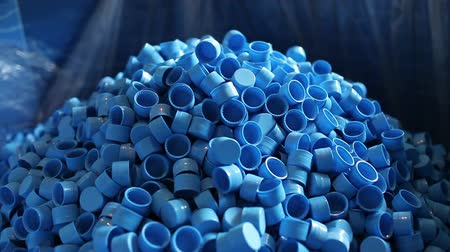 plastics : Production Of Plastic Bottle Caps Stock Footage