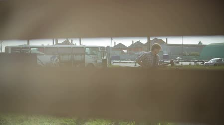 sharpened : man hammers in stake in the ground. shooting from behind a fence Stock Footage