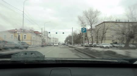 ponto de referência : Timelapse of the city view from the car Stock Footage