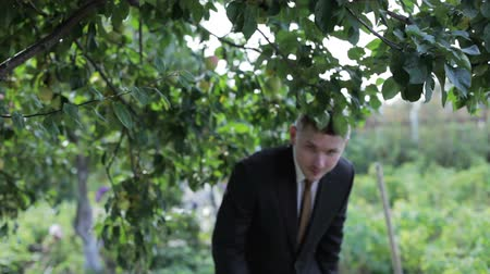 cipőfűző : Man in a suit passes under the branches of trees Stock mozgókép