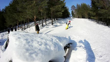 juventude : Snowboarding in forestry mountain